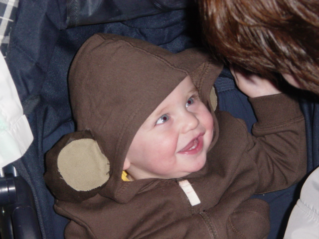 The poor child who had to accept that he was just getting ears sewn onto a brown hoodie!  He got over it once the M&M's started rolling his way!